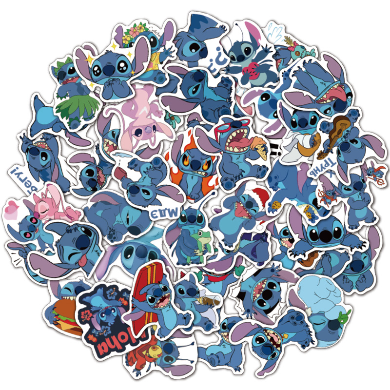 25/50pcs Cartoon Stitch Laptop Stickers DIY Sticker For Toys Phone Cars Bags Desk Laptop Bicycle Waterproof