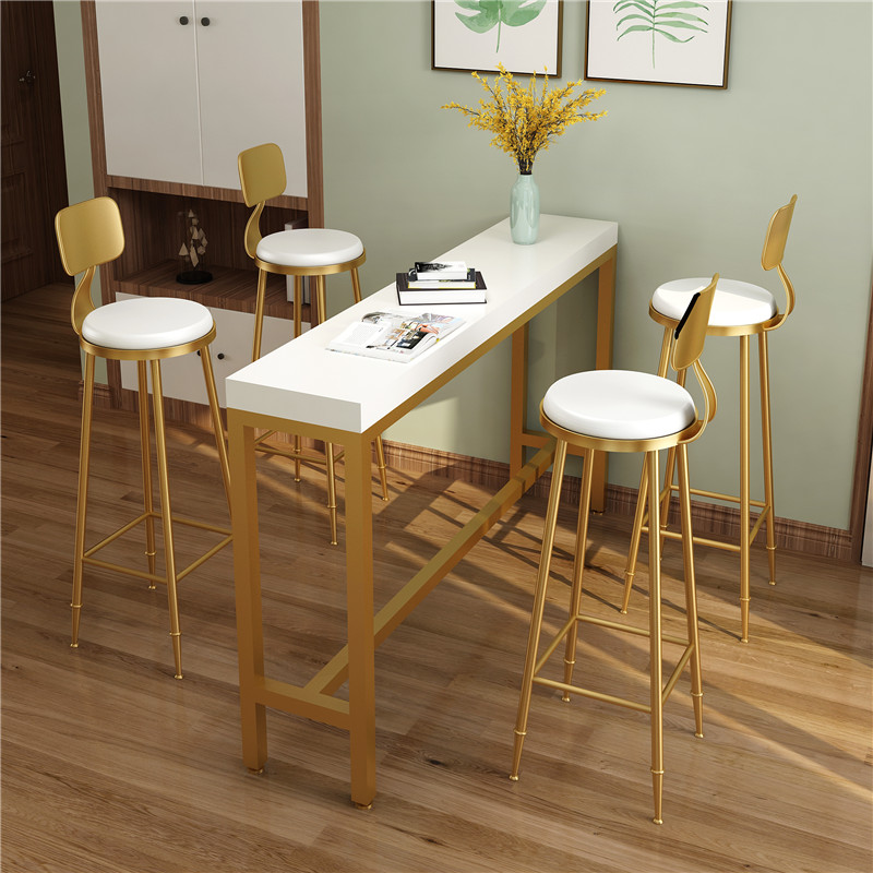 Nordic Solid Wood Wrought Iron Bar Table Against The Wall High Stool Bar Table And Chair Combination Coffee Shop Tea ShopF
