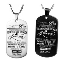 Stainless Steel Family Jewelry - To My Son Keychain, Love Dog Tag Keychain From Mom, Christmas Gift, Graduation Gift(China)