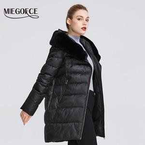 Image 3 - MIEGOFCE 2020 חורף נשים של אוסף נשים של מעיל חם מעיל חורף Windproof Stand Up צווארון עם הוד ו ארנב פרווה Parka