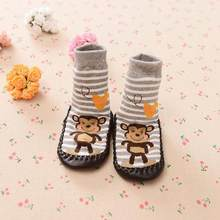 Hot Sale Fashion Cartoon Newborn Baby Girls Boys Anti-Slip Socks Slipper Bell Shoes High Quality Boots Baby Socks Dropshipping(China)