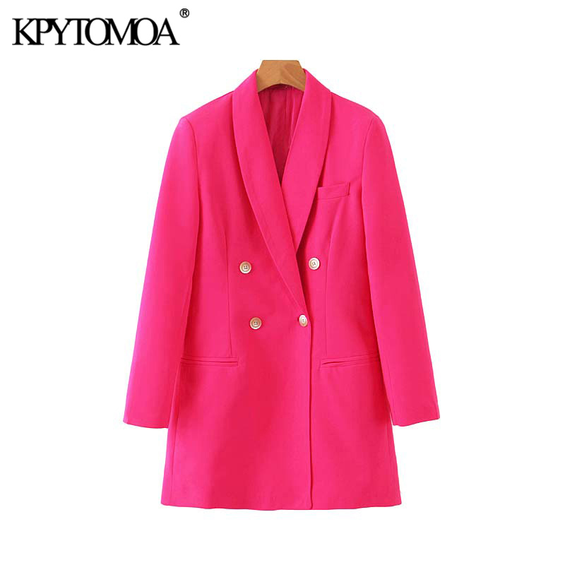 KPYTOMOA Women Fashion Office Wear Double Breasted Blazers Coat Vintage Long Sleeve Pockets Loose Female Outerwear Chic Tops