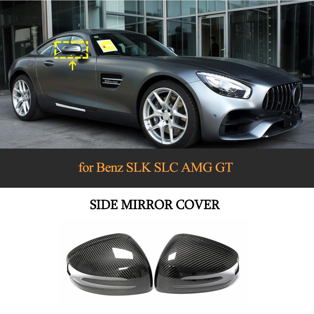Carbon Fiber Mirror Cover for <font><b>Mercedes</b></font>-<font><b>Benz</b></font> <font><b>SLK</b></font> SLC SL AMG GT R172 <font><b>SLK200</b></font> SLC300 SLC260 2012-2019 Rearview Mirror Caps Covers image