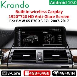 Krando Android 10,0, 4 ГБ, 64 ГБ, 10,25 ''автомобильный Radiofor BMW X5 E70 X6 E71 F15 2007-2017 CIC CCC НБТ мультимедийный плеер Беспроводной Carplay