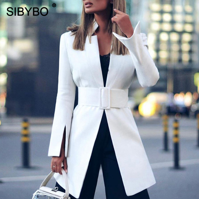 SIBYBO Autumn Winter Wide Sashes Long Blazer Women Long Sleeve Notched Split Women Coat Streetwear Casual Women Blazer Tops