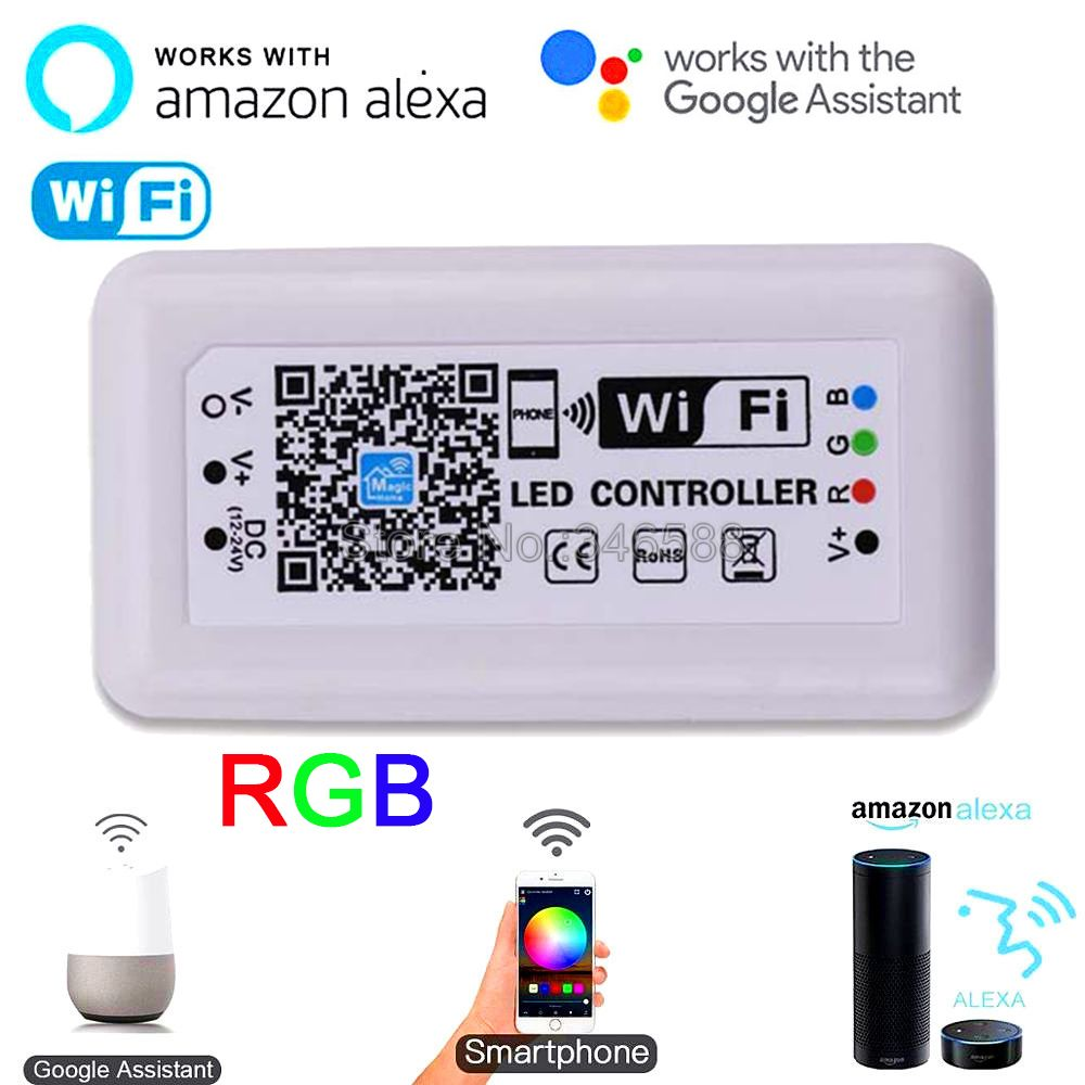 Magic Home RGB WiFi LED Controller DC 12V 24V for 5050 2835 RGB LED Strip iOS Android Phone APP / Alexa Google Voice Control image
