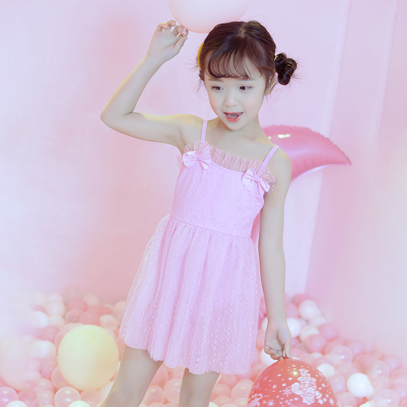 3-6-Year-Old 2019 New Style Solid Color Hipster Small CHILDREN'S Baby One-piece Swimming Suit Camisole Bow Tour Bathing Suit Who