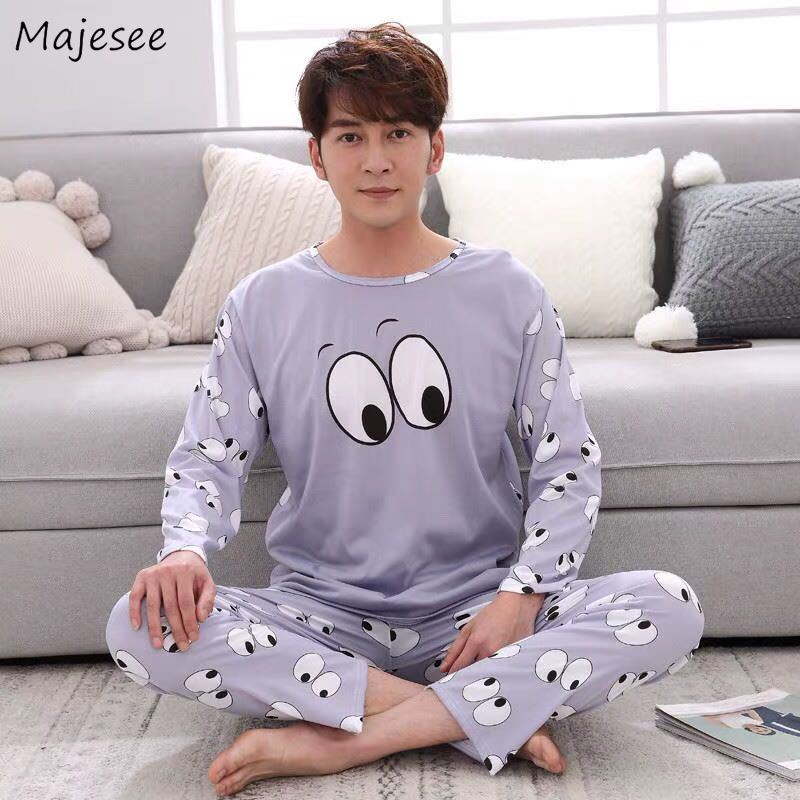 Pajama Sets Men 2020 O-Neck Printed Thin Long Sleeve Cotton Soft Leisure Homewear Set Mens Trendy High Quality Korean Style Chic