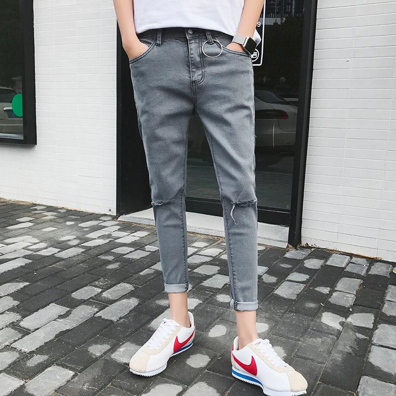 Эластичные Обтягивающие джинсы мужские модные повседневные джинсы с дырками мужские узкие уличные Джокер хип-хоп джинсовые штаны мужские
