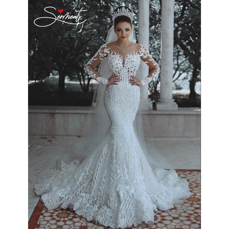 OLLYMURSE Legant Lace Mermaid Wedding Dress Full Floral Print Lace Up Church Suitable For Wedding Africa Europe Americas Bride