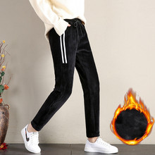 Autumn Winter Large Size Gold Velvet Sweatpants Plus Thickening Harem Pants Fashion Casual Elastic Waist M-4XL
