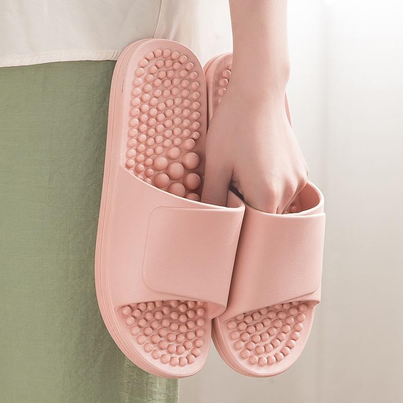 Массажные тапочки женская акупунктурная массаж ступней обувь для дома с мягкой подошвой для ванной Нескользящая Мужская дышащая износостойкая|Тапочки|   | АлиЭкспресс