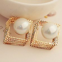 Korean New Three Dimensional Multi-layer Hollow Square Pearl Earrings Exaggerated Refined Stud Wholesale