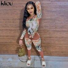 Kliou-Conjuntos de dos piezas con estampado de patrón, Bodycon para mujer, ropa nueva de otoño y pantalones, trajes a juego de moda para mujer
