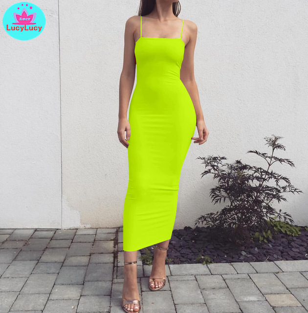 2019 European and American women's summer new sexy slim tight solid color long dress Sleeveless  Sheath  Cotton