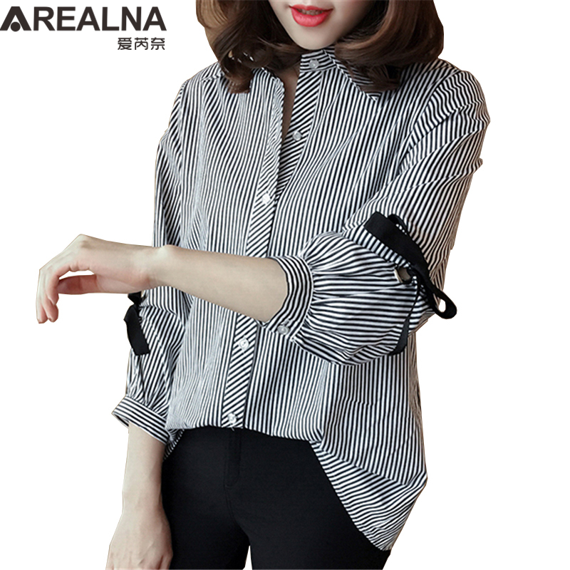 Plus Size Women's Striped Shirt Blusas Mujer De Moda 2019 Kimono Lace Up Bow Loose Womens Tops And Blouses Work Oversized Shirts