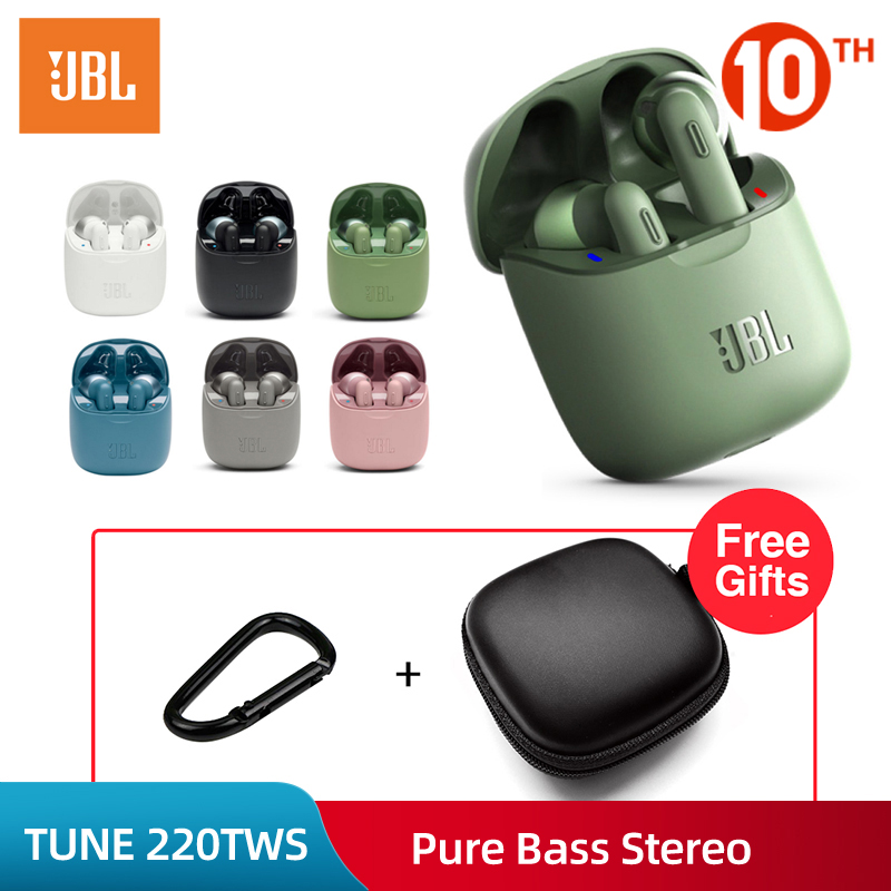 JBL Tune 220TWS Bluetooth V5.0 Earphones Wireless Earbuds In Ear With Stereo Microphone And Charging Box T220 TWS Handfree Calls
