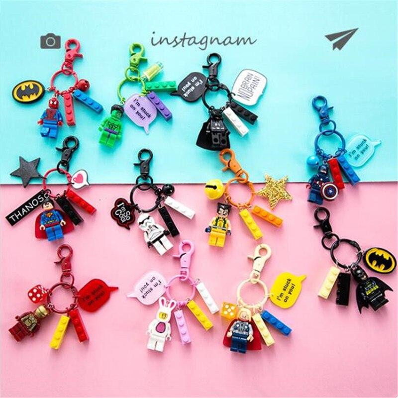 Movie Star Wars Darth Vader Key Chain Cosplay Badge Batman Doll Brick Cartoon Cute Toy Block Thor Key Ring Pendant Boy Girl