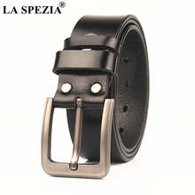 LA SPEZIA Large Size Belts 145cm Genuine Leather Belt Male Black Brown Pin Buckle Casual Extra Long Plus Men