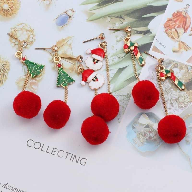 Weihnachten Xmas Crystal Red Santa Hut Ohrstecker Halskette Womens Party Schmuck