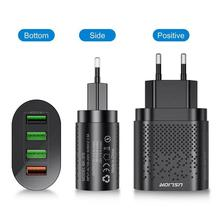 4 Ports Fast Quick Charge QC 3.0 USB Hub Wall Charger Power Adapter Mobile Phone Charger EU US Plug For smart phones tablets vina ups 001a safety 4 port usb fast charger with power adapter black us plug