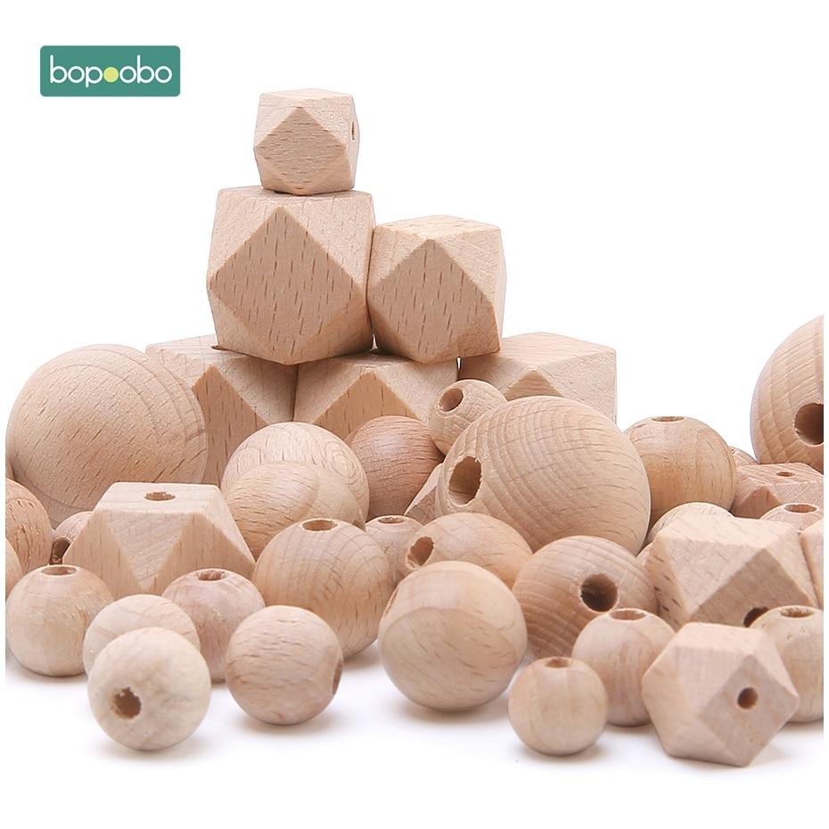 Bopoobo faia contas de madeira mordedor mastigável 8-20mm madeira pequena haste para crianças contas de faia contas de dentição de madeira para o bebê mordedor