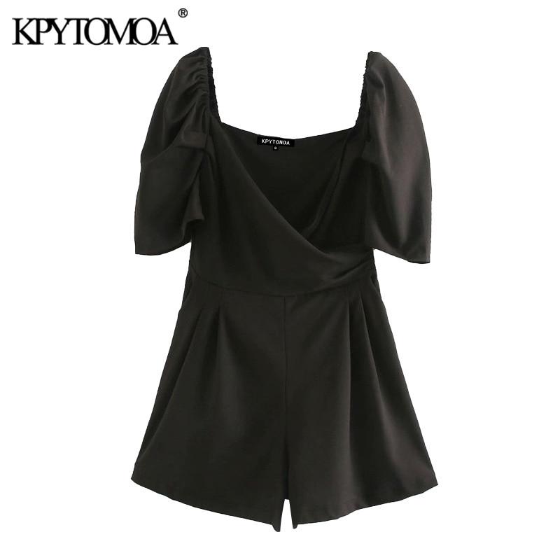 KPYTOMOA Women 2020 Chic Fashion Office Wear Puff Sleeve Playsuits Vintage Cross V Neck Side Zipper Female Short Jumpsuits Mujer