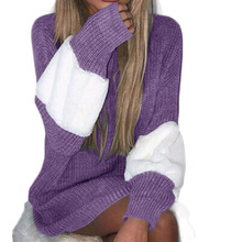 Thick Sweater Female 2008 Autumn and Winter Colour Coloured Sleeve Knitted Long Down 1087