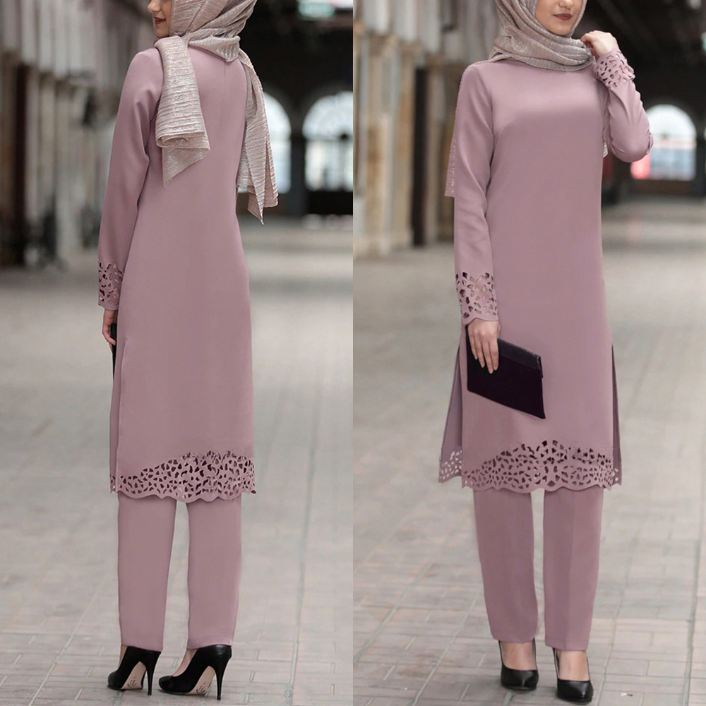 Ramadan Eid Muslim Dress Women 2pecs Set Top and Pants Dubai Abaya Lace up Ropa Kaftan Turkey African Islamic Clothing Dress Set