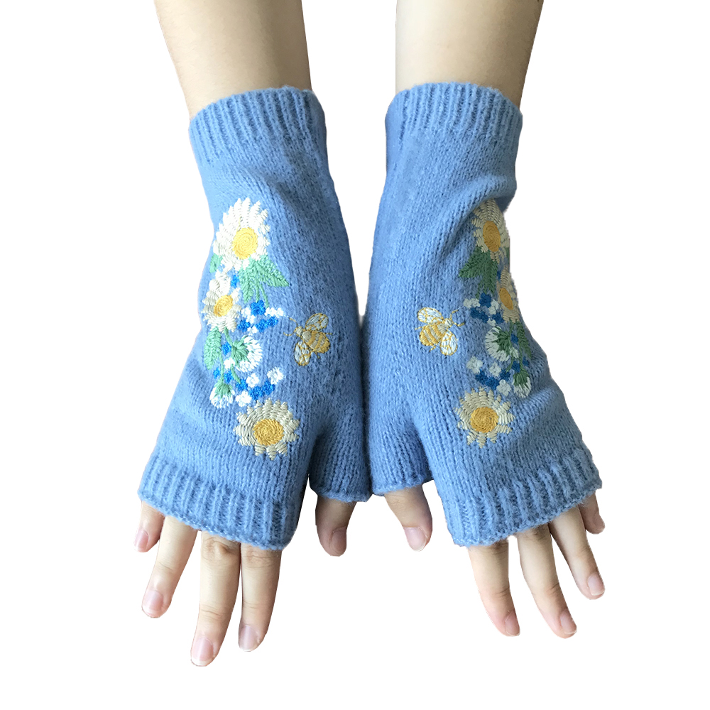 2021 Autumn Winter Ladies Warm Fingerless Gloves Embroidered Wool Knitted Half Finger Gloves Fashion Hand Gloves for Women