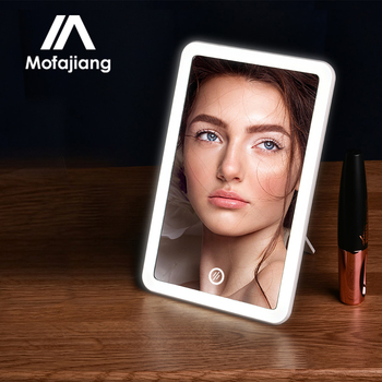 Led Makeup Mirror Touch Screen Vanity Lights 180 Degree Rotation Table Countertop Cosmetics Bathroom Mirror