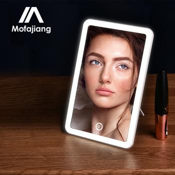 Lusterko kosmetyczne z podświetleniem Led dotykowy ekran Vanity Lights 180 stopni obrót blat kosmetyki lustro łazienkowe tanie i dobre opinie MOFAJIANG Wyposażone CN (pochodzenie) LED Makeup Mirror Lusterko do makijażu 8 07 x 5 31 x 0 19 inches Powiększające