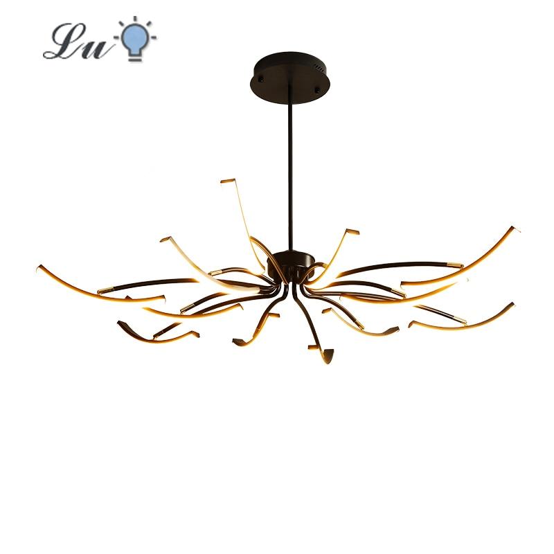 LED Iron Matte Black/White Chandelier Living Room Bedroom Adjustable Chandeliers Fixture Restaurant Indoor Lighting Ceiling Lamp