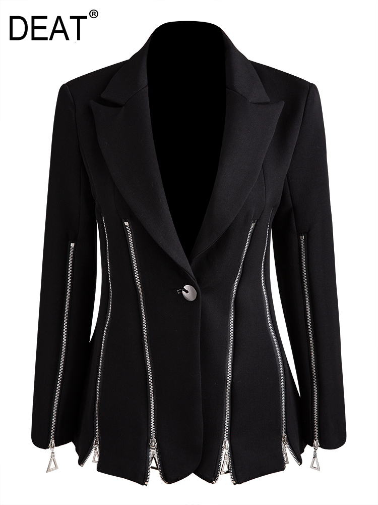 2020 New Autumn And Winter NOTCHED Collar Full Sleeves Zipper Single Breasted Black Blazer Female Waist Jacket 19G-a18
