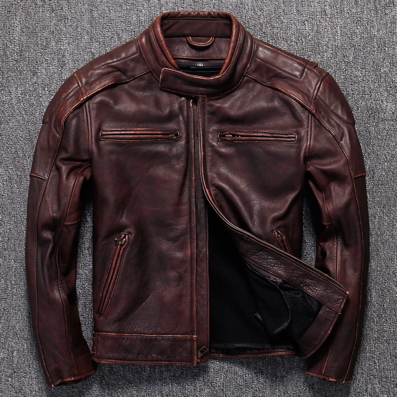 Retro Cowhide Genuine Leather Jacket Men Real Cow Leather Coat Motorcycle Jacket Short Vintage Leather Jackets KJ1441