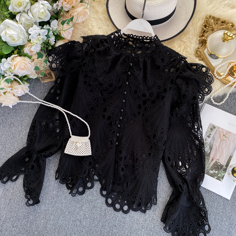 VICONE French-Style Retro Court Style Shirt Women's  Non-Mainstream Hollow-out Ruffle Long-Sleeved Elegant Buckle Collar Top