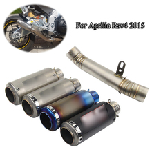 Slip On For Aprilia rsv4 2015 61mm Motorcycle Muffler Exhaust Tail Pipe Connecting Mid Link No DB Killer Moto Escape