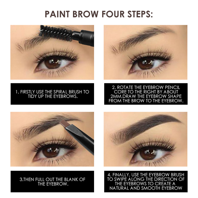FOCALLURE Eyebrow Pencil 3 Colors Soft And Smooth Automatic Waterproof Natural 1pc Eye brow with brush Makeup tools 3