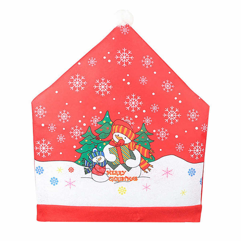 2 pçs/set Tampa Da Cadeira Não-tecido de Natal Papai Noel Boneco de Neve Chapéu Vermelho Fezes de Volta Cobre Ano Novo Ornamento # YJ
