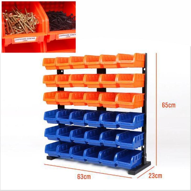 36pc Tool Parts Box Storage Rack Shelving Garage Hardware Screw Tool Organize Box With Iron Shelf Components Box