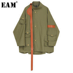 [EAM] Loose Fit Split Joint Leather Big Size Jacket New Stand Collar Long Sleeve Women Coat Fashion Tide Spring 2020 1R553