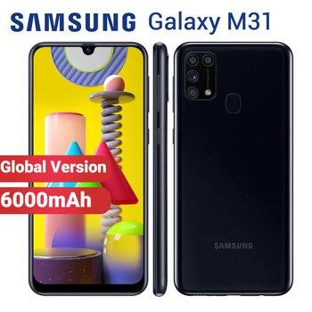 Перейти на Алиэкспресс и купить Мобильный телефон Samsung Galaxy M31, глобальная версия, 6000 мАч, 64 ГБ, 6 ГБ, M315F/DS, 6,4 дюйма, Exynos 9611, 64 мп, две SIM-карты, Android 10, 4G смартфон