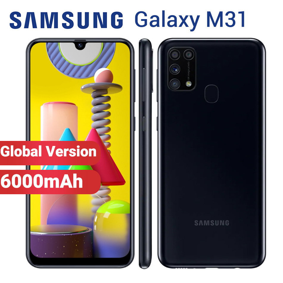 """Global Version Samsung Galaxy M31 Mobile Phone 6000mAh 64GB 6GB M315F/DS 6.4"""" Exynos 9611 64MP Dual SIM Android 10 4G Smartphone