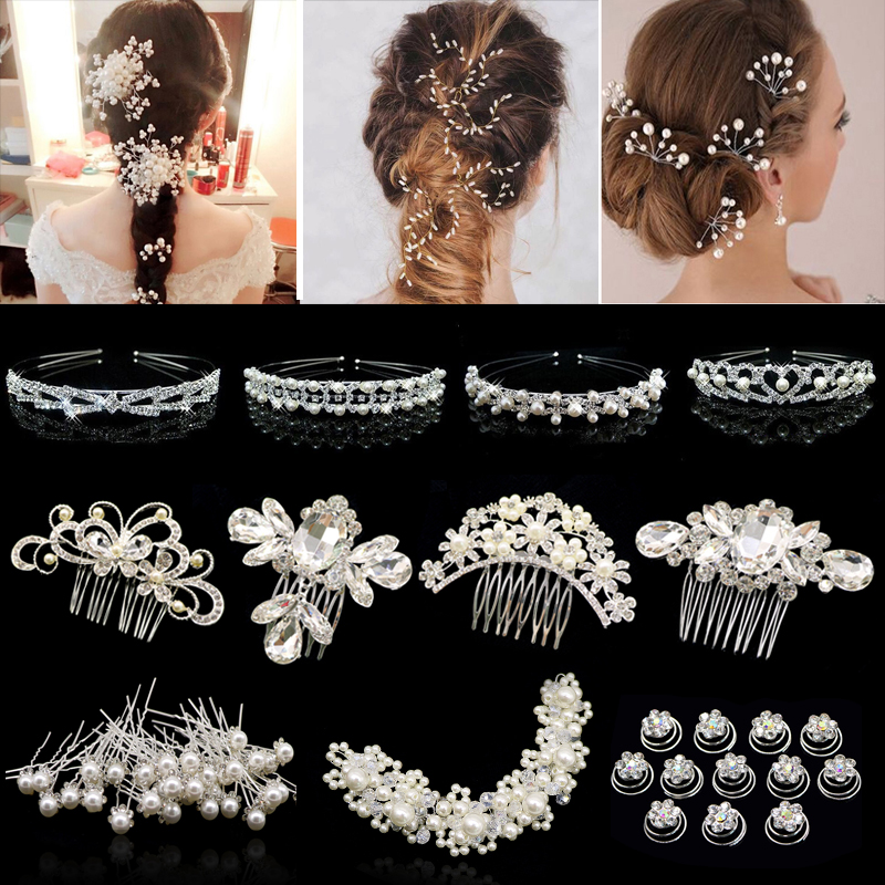 Fashion Rhinestone Crystal Wedding Hair Accessories Jewelry Hair Clip For Women Girls Charm Barrette Hairpins Headdress