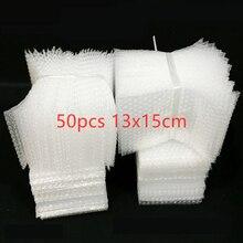 50pcs 13x15cm Plastic Wrap Envelope White Bubble Packing Bags PE Clear Shockproof Packaging Bag Double Film Bubble Bag
