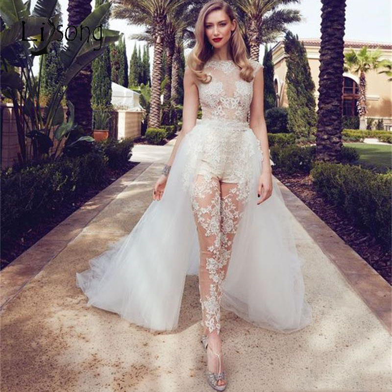 2020 Fashion Lace Wedding Dresses Jumpsuit With Tulle Detachable Train Sexy Bridal Gowns Appliques See Thru Wedding Gowns