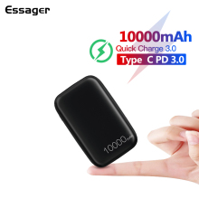 Essager Mini Power Bank 10000mah Quick Charge 3.0 Powerbank For Xiaomi mi 9 Portable Charger External Battery USB C PD Poverbank