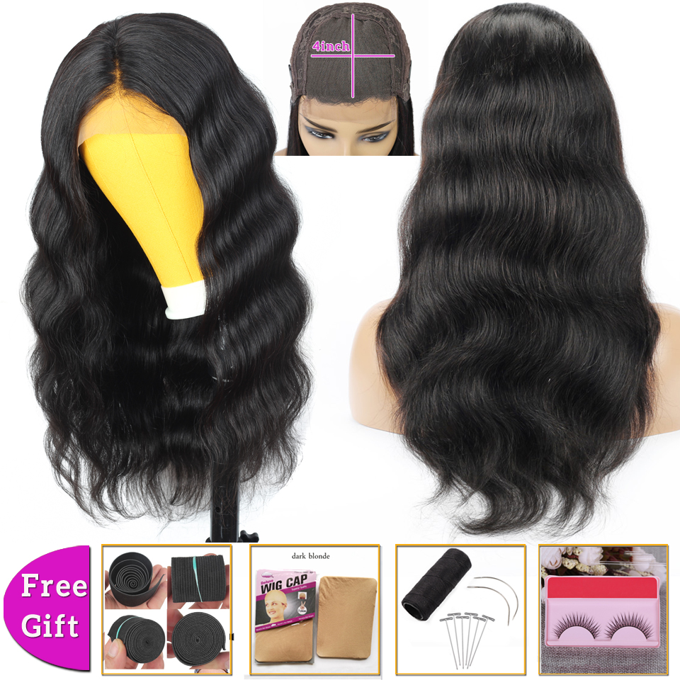 brazilian hair wigs body wave wig 4x4 lace closure wig human hair wigs for black women lace front wig Non-Remy 150% Density