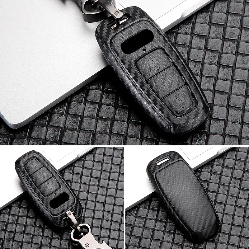 lowest price ABS Carbon Fiber Car Remote Key Case Cover Shell For Audi A6 C8 A7 A8 D5 Q8 E-tron E TRON 2018 2019 Car Styling Accessories