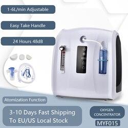 Концентратор кислорода 1-6л/мин регулируемая портативная кислородная машина для дома и путешествий без батареи переменного тока 110В/220В